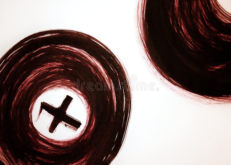 Elektrische K?rperverletzung oder K?rperverletzungsvorwurf Erotische Kreise mit a-Plus in der Mitte lizenzfreies stockbild