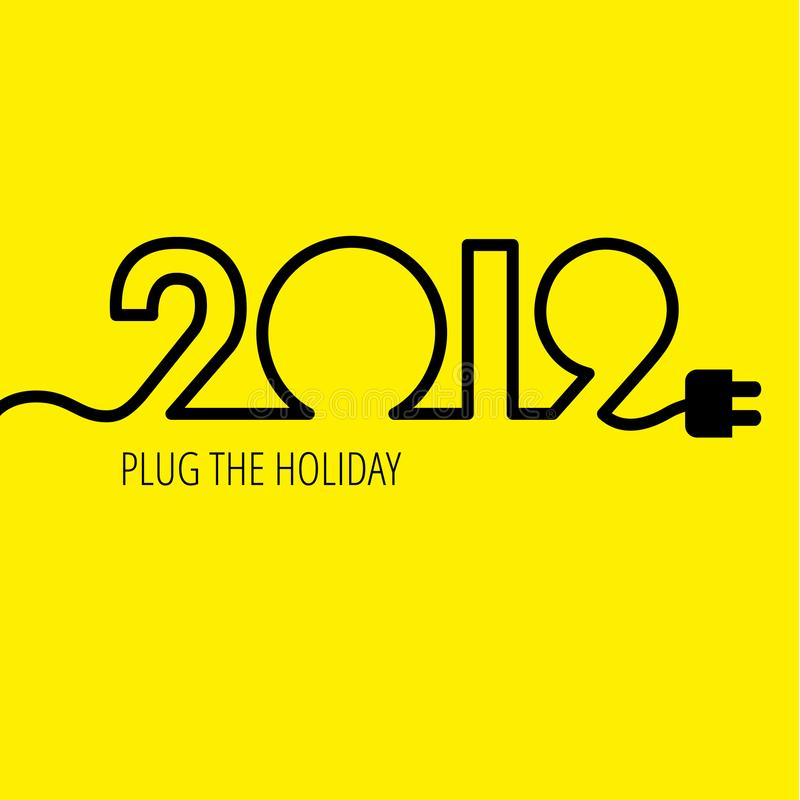 Elektrische kabel in de vorm van nummer 2019 royalty-vrije illustratie