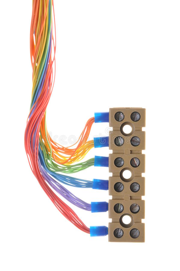 Elektrische Kabel Der Installation Mit Verteiler Stockfoto - Bild ...