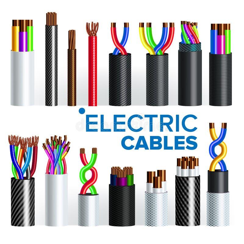 Elektrische Kabels Geplaatst Vector Koperdraad Elektricien Rubber Cord Industriële Netwerkmacht Elektriciteitsenergie royalty-vrije illustratie