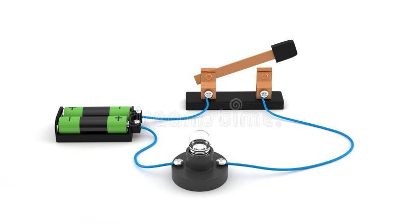 Elektrische kring die open schakelaar tonen die een gloeilamp en batterijen met behulp van witte achtergrond