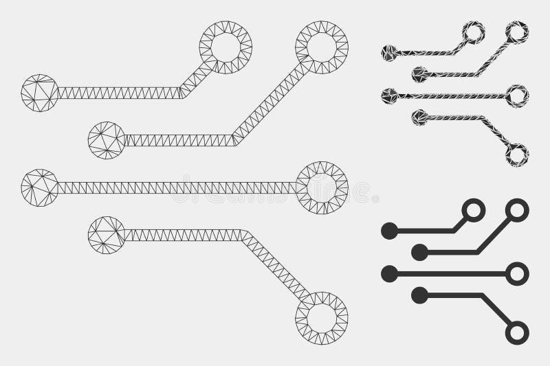 Elektrische Kring Vector het Mozaïekpictogram van Mesh Network Model en van de Driehoek stock illustratie