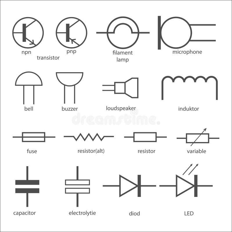 Elektrische kringssymbolen vector illustratie. Illustratie bestaande ...