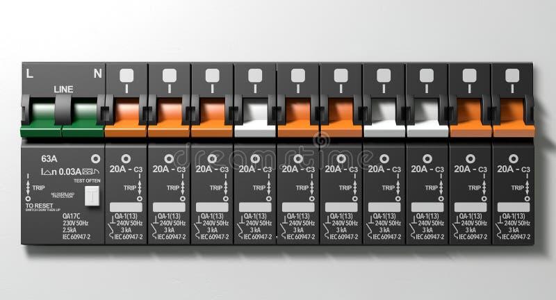 Elektrische Leistungsschalter-Platte stock abbildung
