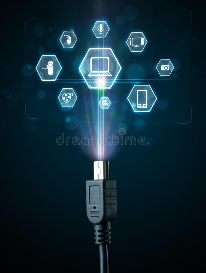 Elektrische Leitung mit Multimediaikonen vektor abbildung