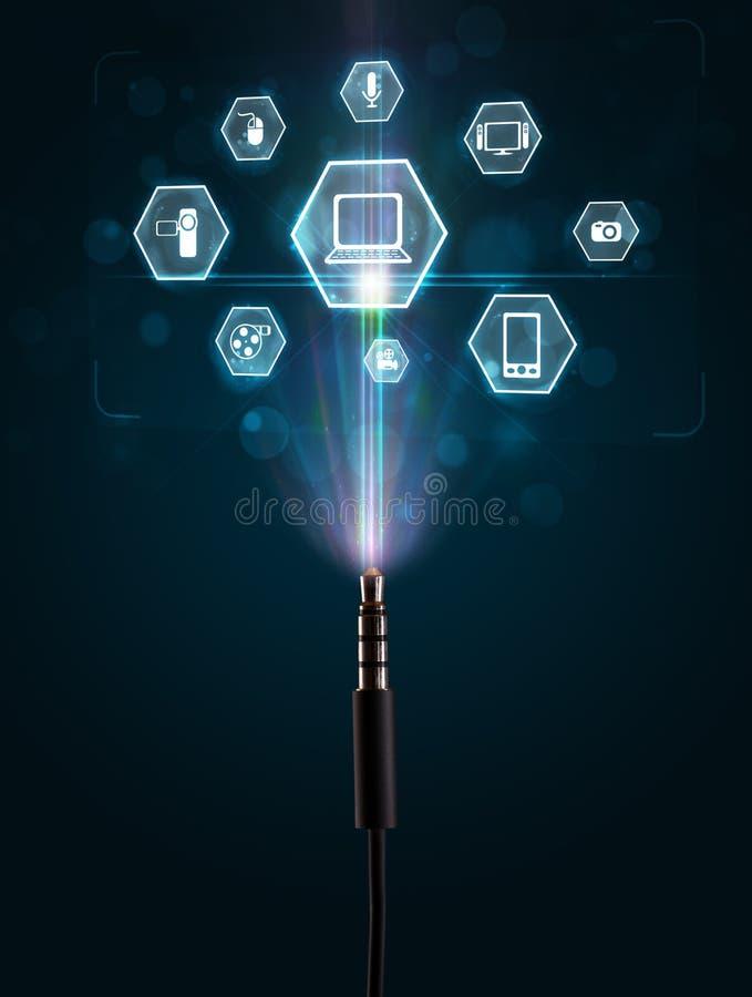 Elektrische Leitung mit Multimediaikonen lizenzfreie abbildung