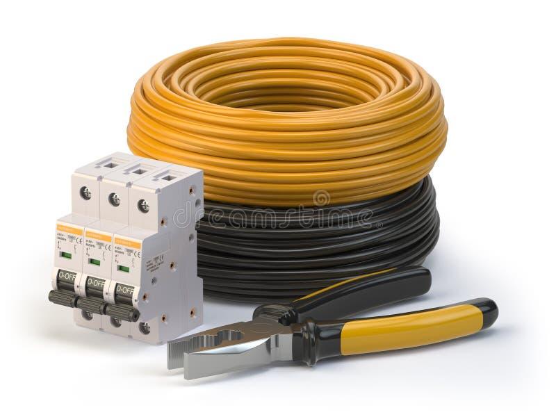Elektrische Leitung, Zangen und Stromkreis breake risolated auf weißem Hintergrund Elektrische Komponenten und Instrumente lizenzfreie abbildung