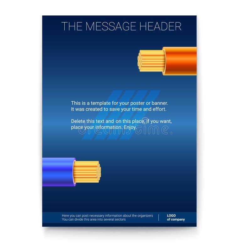 Elektrische Leitungen in der farbigen Borte auf dunklem Hintergrund Plakatdesign für Darstellung, Abdeckungskunst, Fahnen oder lizenzfreie abbildung
