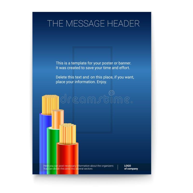 Elektrische Leitungen in der farbigen Borte Vertikales Druckdesign für Darstellung, Poster, Fahnen oder Werbung 3d vektor abbildung