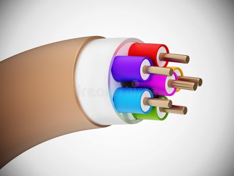 Elektrische Leitungen lokalisiert auf wei?em Hintergrund Abbildung 3D vektor abbildung