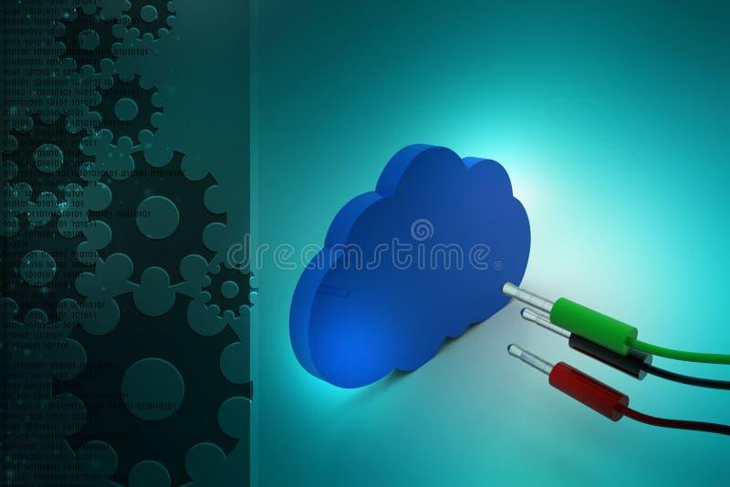 Elektrische Leitungen mit Wolke lizenzfreie abbildung