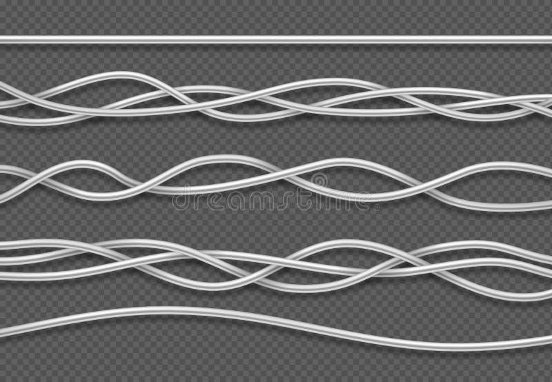 Elektrische Leitungen Realistische elektrische weiße industrielle Drähte Lokalisierter Vektorsatz stock abbildung