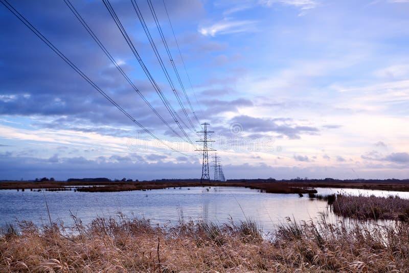 Elektrische lijn met hoog voltage over moeras stock foto's