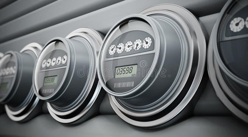 Elektrische meters op een rij royalty-vrije illustratie