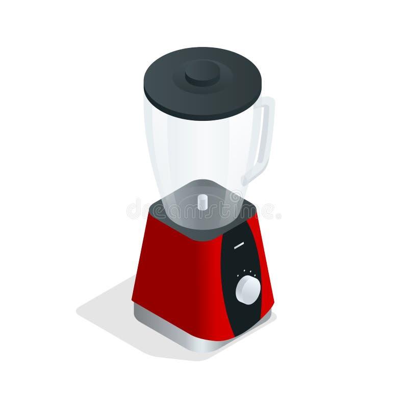 Elektrische Mischvorrichtung Küchengerät, Ausrüstung auf Weiß Isometrische Illustration des flachen Vektors 3d lizenzfreie abbildung