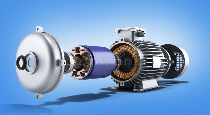 Elektrische motor in de gedemonteerde 3d illustratie van de staat stock illustratie
