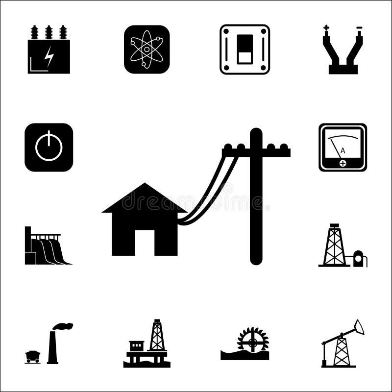 Elektrische polenlijn aan huispictogram Reeks Energiepictogrammen Grafische het ontwerppictogrammen van de premiekwaliteit Tekens stock illustratie