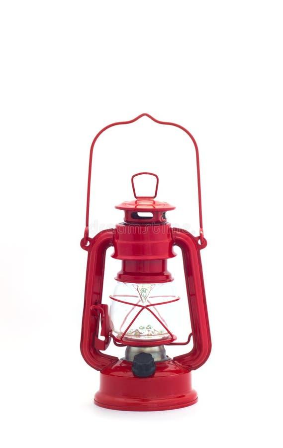 Elektrische rode lantaarn in kerosinepatroon stock fotografie
