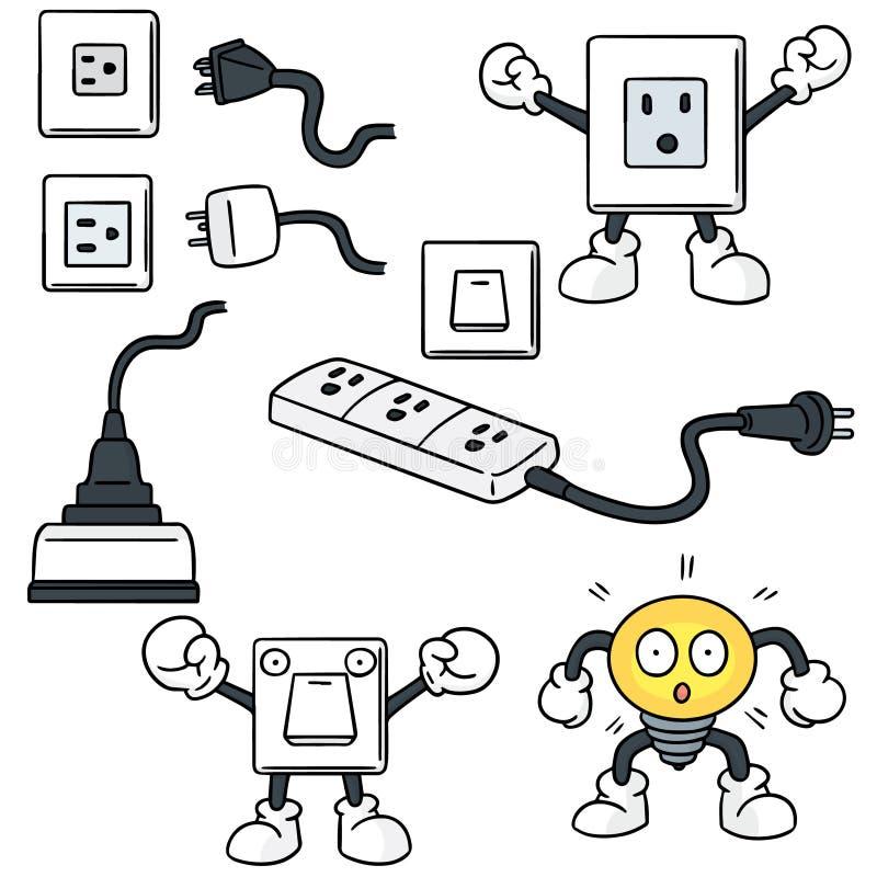 Elektrische schakelaar en stop stock illustratie