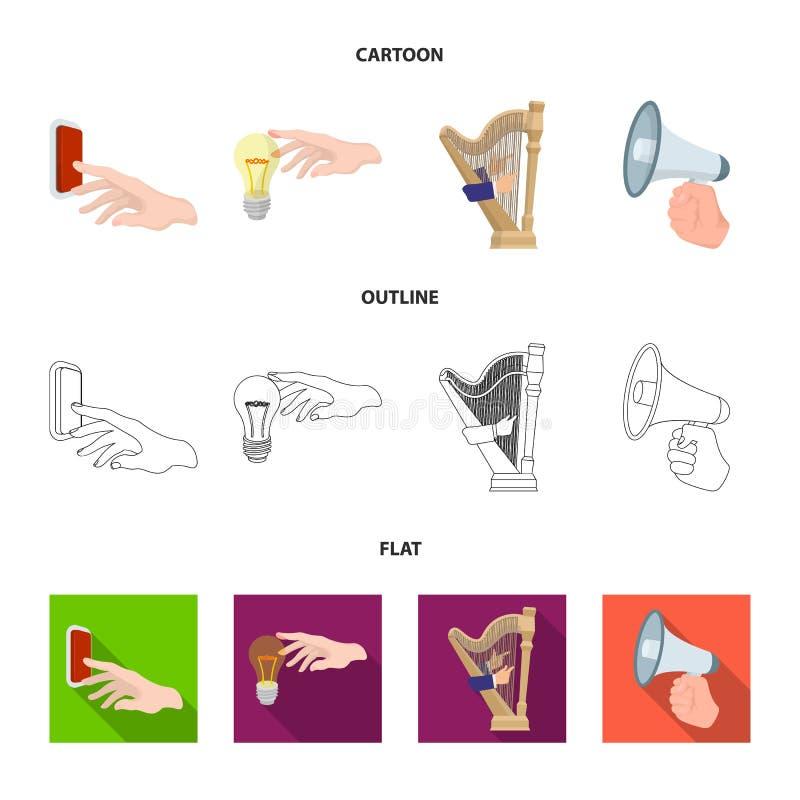Elektrische schakelaarknoop, gloeilamp en ander Webpictogram in beeldverhaal, overzicht, vlakke stijl harp het spelen, Megafoon b vector illustratie