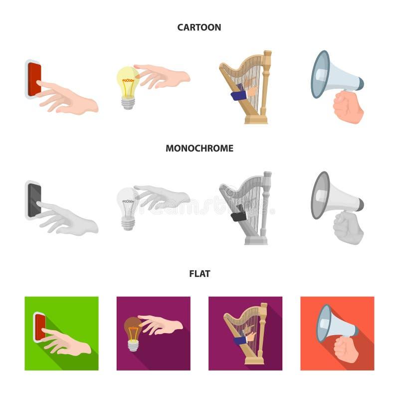 Elektrische schakelaarknoop, gloeilamp en ander Webpictogram in beeldverhaal, vlakke, zwart-wit stijl harp het spelen, Megafoon stock illustratie