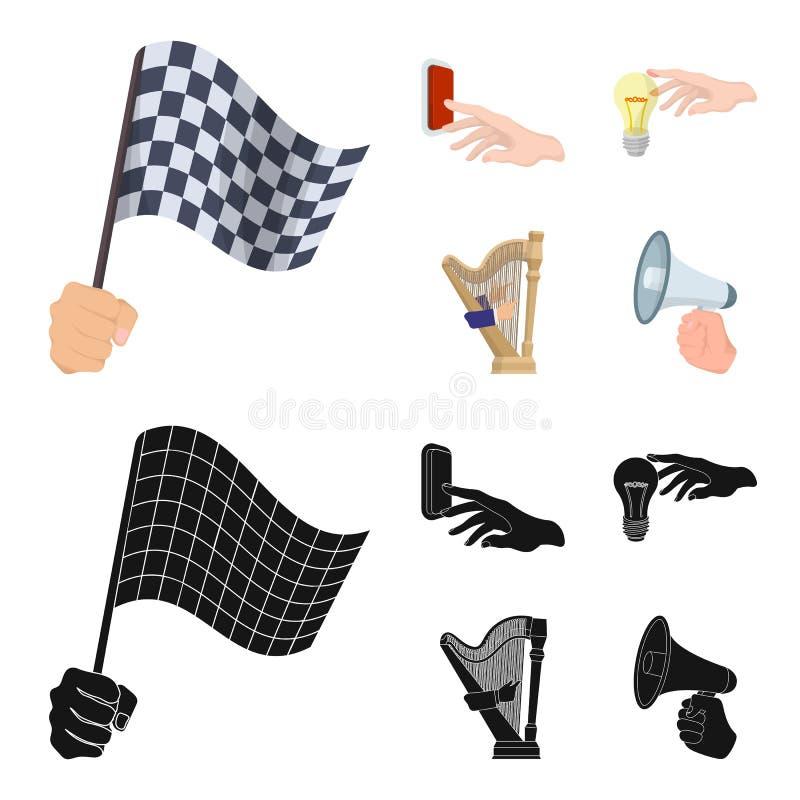 Elektrische schakelaarknoop, gloeilamp en ander Webpictogram in beeldverhaal, zwarte stijl harp het spelen, Megafoon ter beschikk vector illustratie