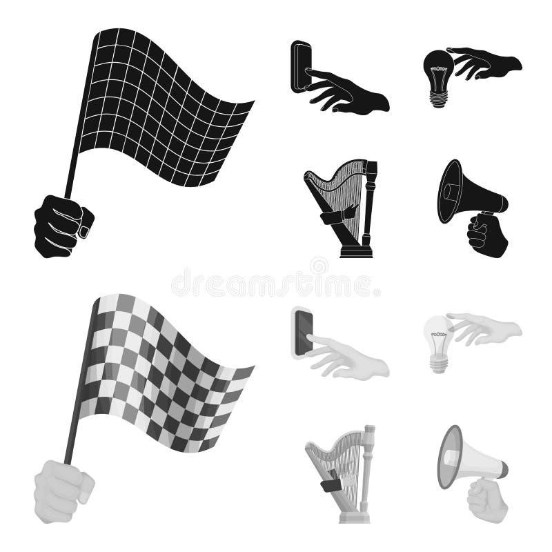 Elektrische schakelaarknoop, gloeilamp en ander Webpictogram in zwarte, zwart-wit stijl harp het spelen, Megafoon ter beschikking vector illustratie