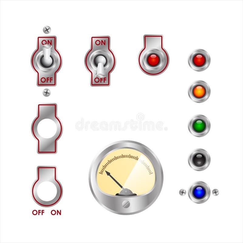 Elektrische Schalter Und Farbige Lichter Vektor Abbildung ...