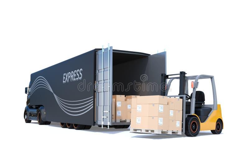Elektrische semi die vrachtwagen en vorkheftruck op witte achtergrond wordt geïsoleerd royalty-vrije illustratie