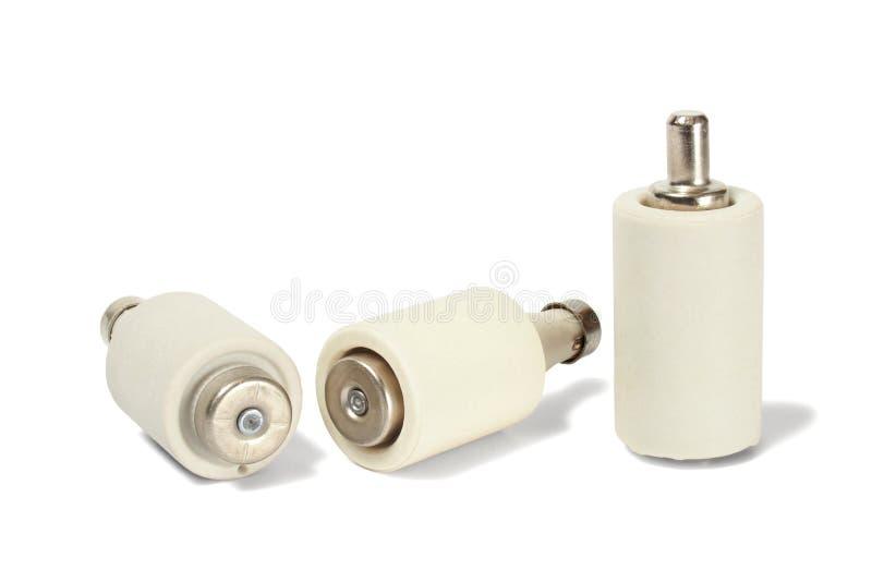 Elektrische Sicherungen auf Weiß lizenzfreie stockbilder