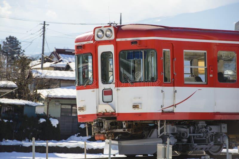 Elektrische spoorwegtrein stock foto's