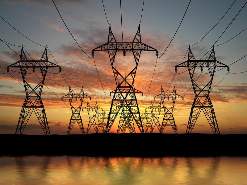 Elektrische Starkstromleitungen lizenzfreie stockfotografie