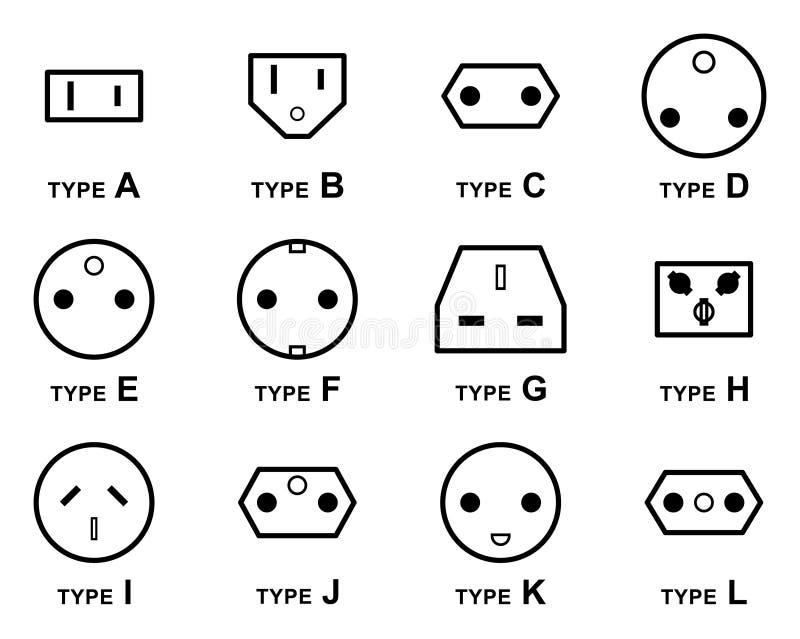 Elektrische Stecker-Arten vektor abbildung. Illustration von ...