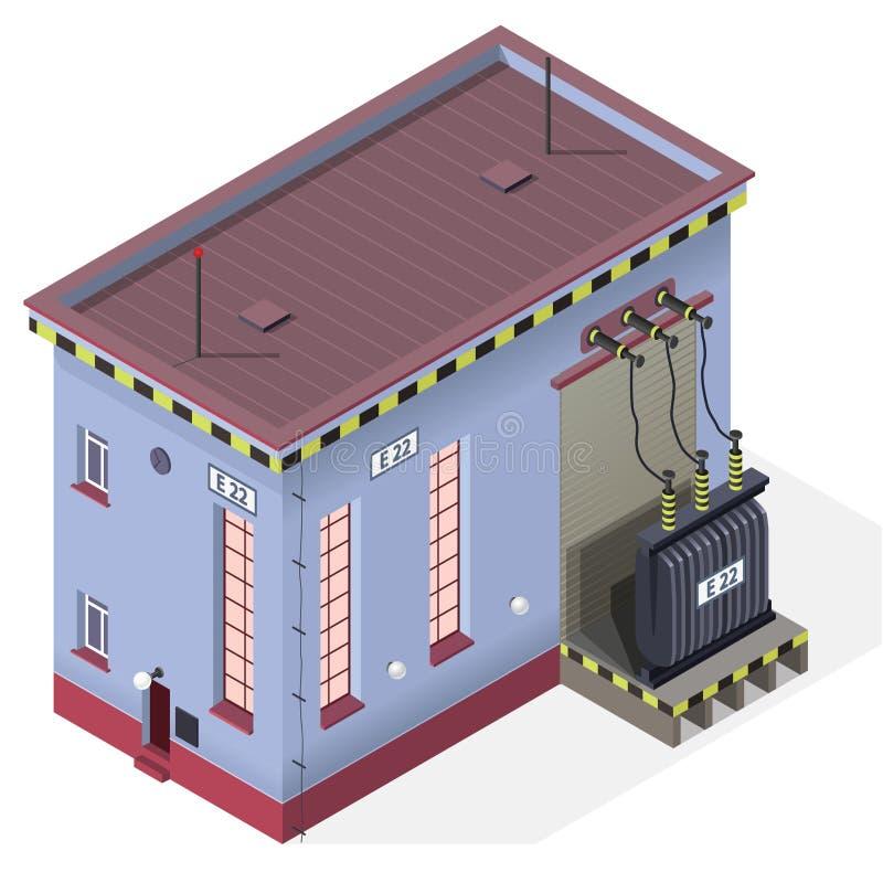 Elektrische transformator isometrische grafische de bouwinformatie Krachtcentrale met hoog voltage stock illustratie