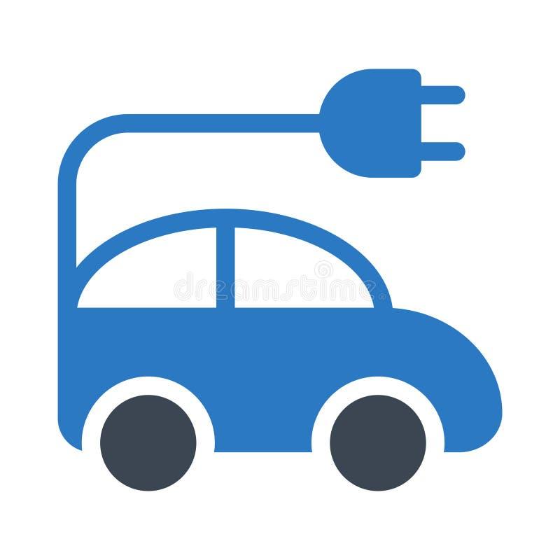 Elektrische Transport Glyphfarbflache Vektorikone stock abbildung