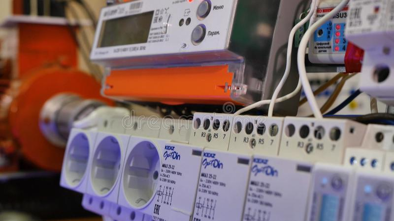 Elektrische tribune Elektro installatie close-up royalty-vrije stock afbeeldingen
