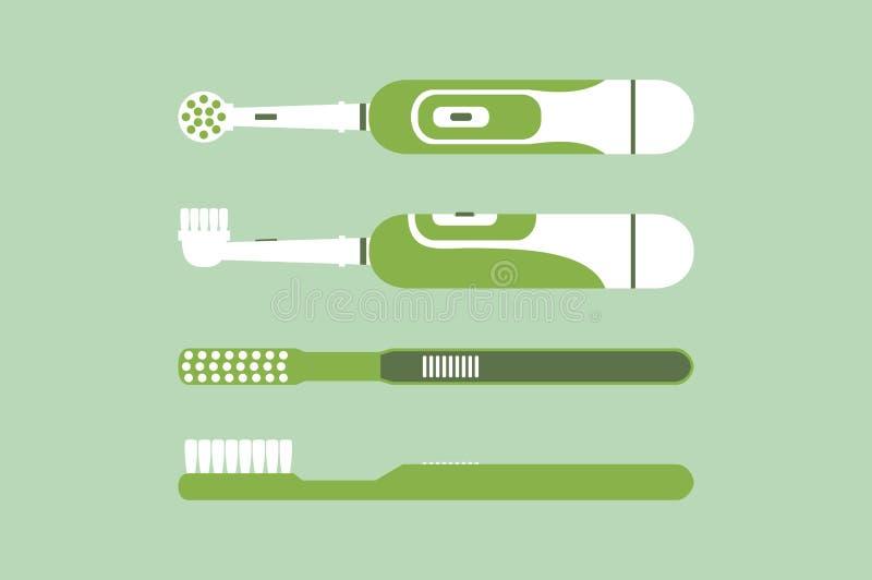 Elektrische und Griffzahnbürste für bürstende Zähne vektor abbildung