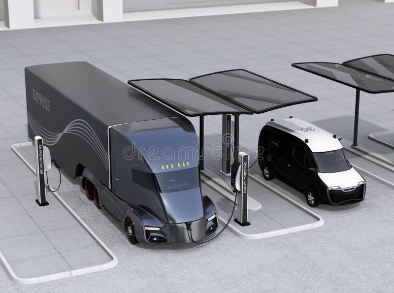 Elektrische vrachtwagen en bestelwagen die die bij het laden post laden door zonnepaneelsysteem wordt aangedreven royalty-vrije illustratie