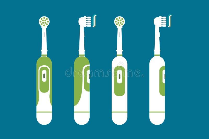 Elektrische Zahnbürste mit Zahnpasta für bürstende Zähne, hallo Morgen lizenzfreie abbildung