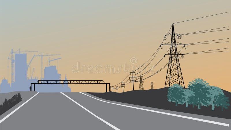 Elektrische Zeile und Gebäude am Sonnenuntergang lizenzfreie abbildung