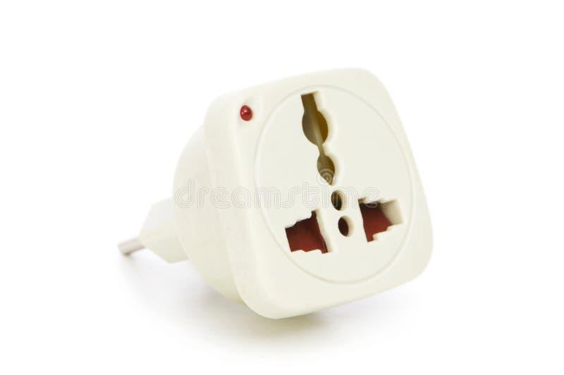 Elektrischer Adapter getrennt auf dem Weiß stockfotos
