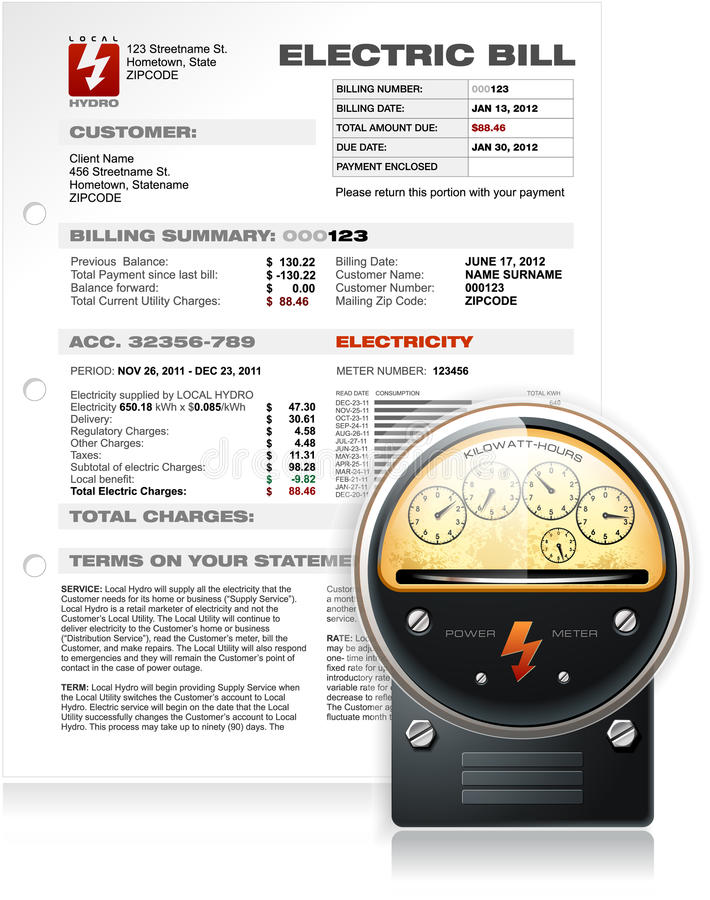 Elektrischer Bill mit elektrischem Gegenvektor lizenzfreie abbildung