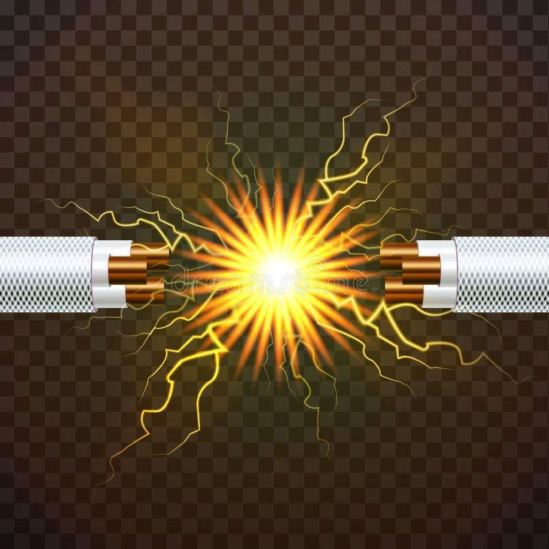 Elektrischer Bruch-Kabel-Vektor Elektriker Rubber Cord Kupferdraht Stromkreis-Funken realistische lokalisierte Illustration 3D lizenzfreie abbildung