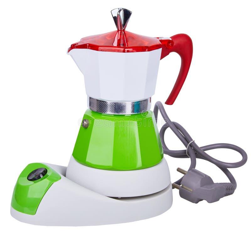 Elektrischer bunter weißer, grüner und roter Metallgeysir-Kaffeetopf, Kaffeemaschine lokalisiert auf weißem Hintergrund lizenzfreies stockbild