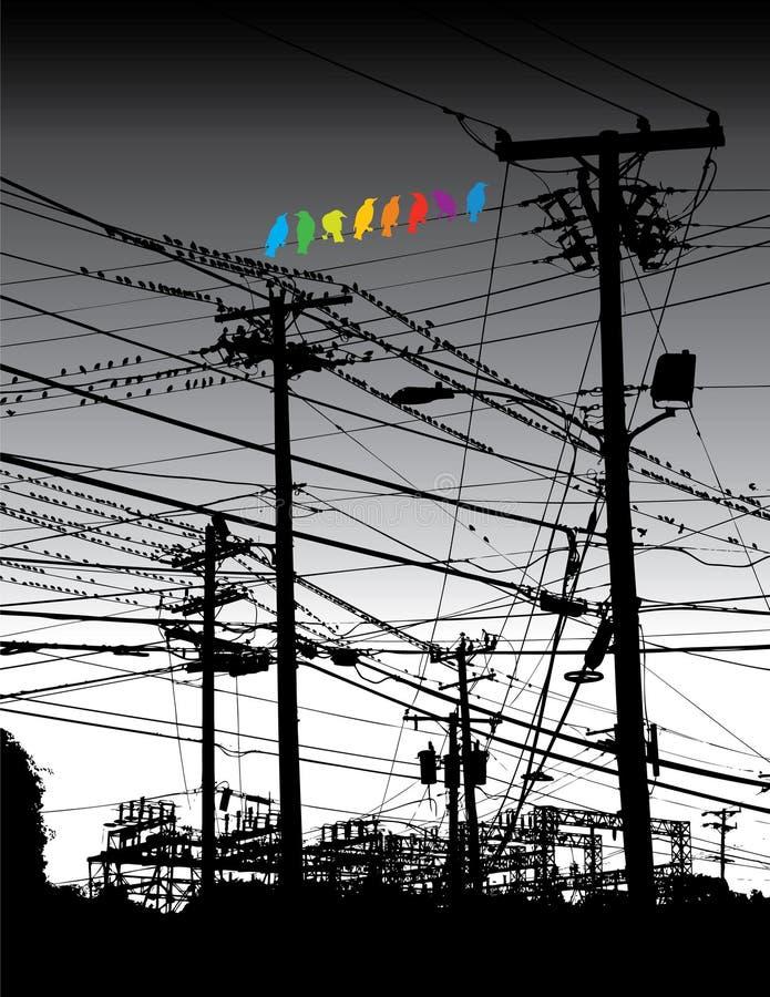 Elektrischer Dschungel und Vögel lizenzfreie abbildung