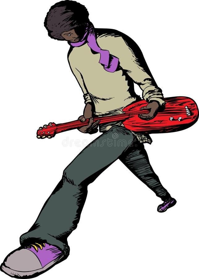 Elektrischer Gitarrist Performing lizenzfreie abbildung