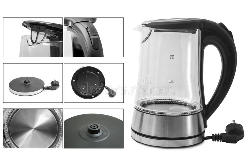 Elektrischer Glaskessel lokalisiert auf weißem Hintergrund Glas-und Edelstahl-Tee-Kessel Haushaltsgeräte Haushaltsgerät lizenzfreie stockfotografie
