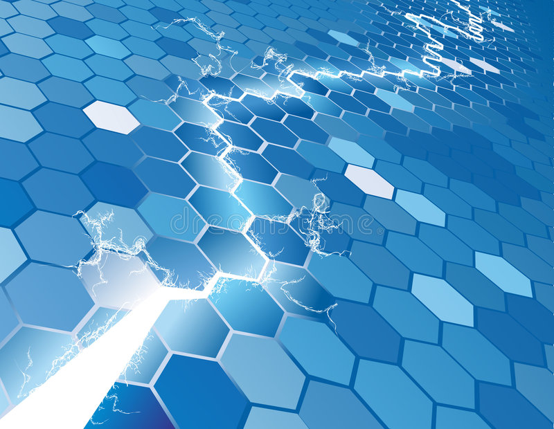 Elektrischer Hexagon-Hintergrund Co stock abbildung