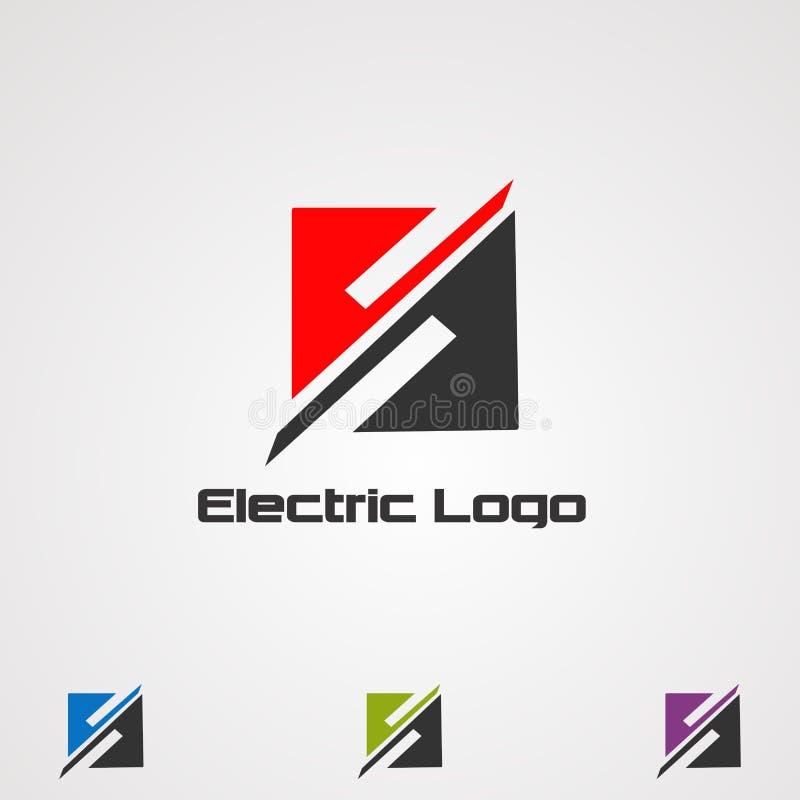 Elektrischer Logovektor, -ikone, -element und -schablone des Quadrats für Firma lizenzfreie abbildung