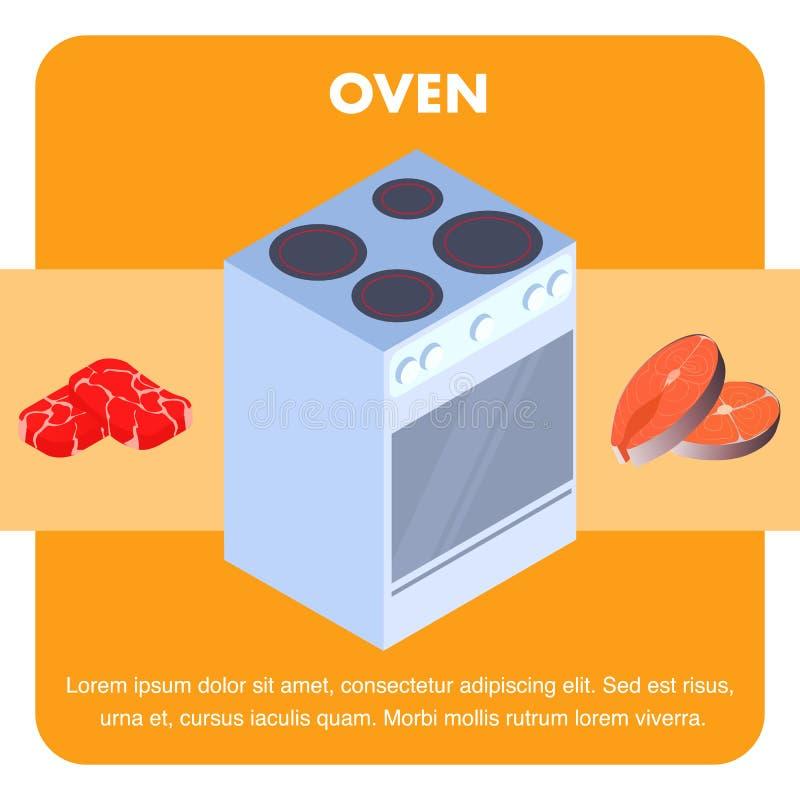 Elektrischer Ofen, Kocher-flache Vektor-Fahnen-Schablone stock abbildung